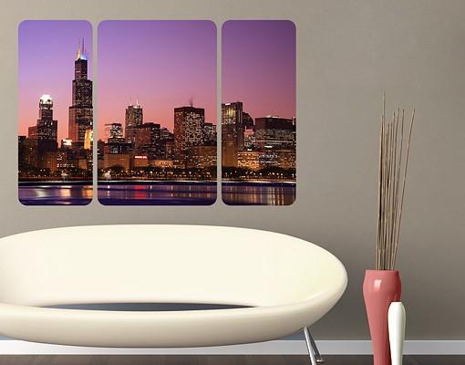 Produktfoto Selbstklebendes Wandbild Chicago Skyline Triptychon II