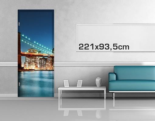 Produktfoto Türtapete New York -  Nighttime Manhattan Bridge