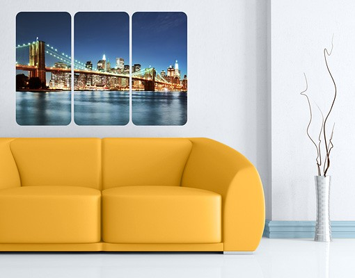 Produktfoto Selbstklebendes Wandbild Nighttime Manhattan Bridge Triptychon I