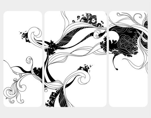 Produktfoto Selbstklebendes Wandbild Ranke in Tusche Triptychon II