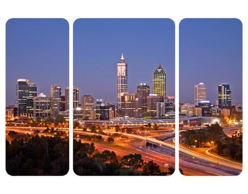 Produktfoto Selbstklebendes Wandbild Perth Skyline Triptychon II