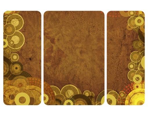Produktfoto Selbstklebendes Wandbild Goldene Kreise Triptychon II
