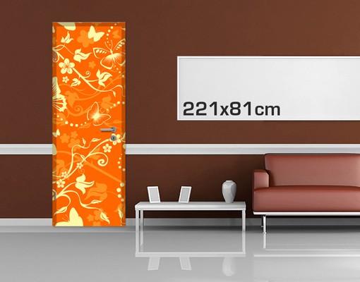 Produktfoto Türtapete Blumen selbstklebend -  Verzaubernde Schmetterlinge