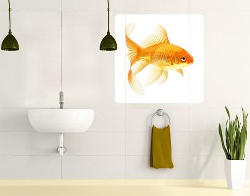 Produktfoto Selbstklebendes Wandbild Frau Goldfisch