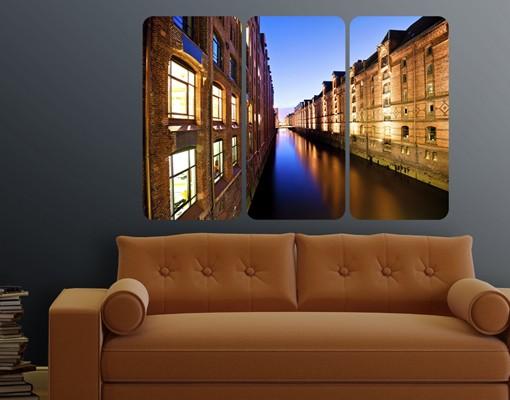 Produktfoto Selbstklebendes Wandbild Hamburg Speicherstadt Triptychon I