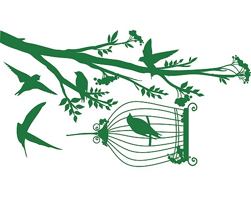 Produktfoto Wandtattoo Wald - Baum & Vögel No.RS51 Vögel naschen Beeren