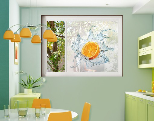 Produktfoto Fensterfolie - Sichtschutz Fenster Frische Orange - Fensterbilder