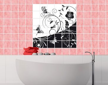 Product picture Tile Mural Floral Contrast