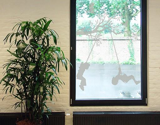 Produktfoto Fensterfolie - Fenstertattoo No.RS84 Schaukelnde Kinder - Milchglasfolie