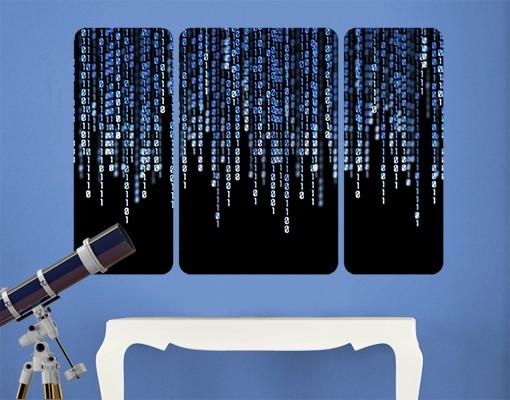 Produktfoto Selbstklebendes Wandbild Binärischer Code Triptychon II