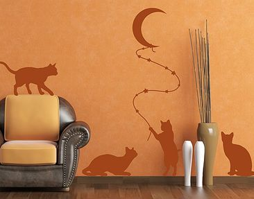 Product picture Wall Decal no.RS98 Cats With Moon