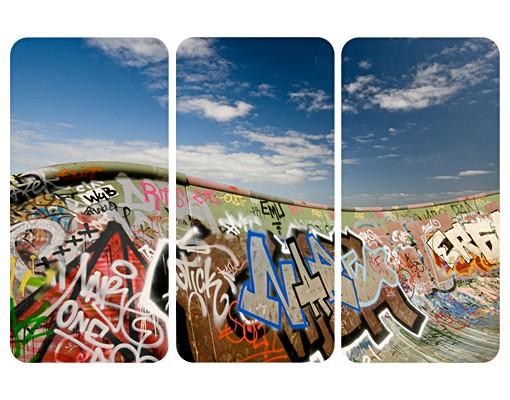 Produktfoto Selbstklebendes Wandbild Paradies für Skater Triptychon I