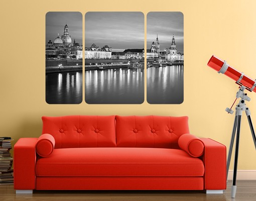 Produktfoto Selbstklebendes Wandbild Canaletto-Blick bei Nacht II Triptychon II
