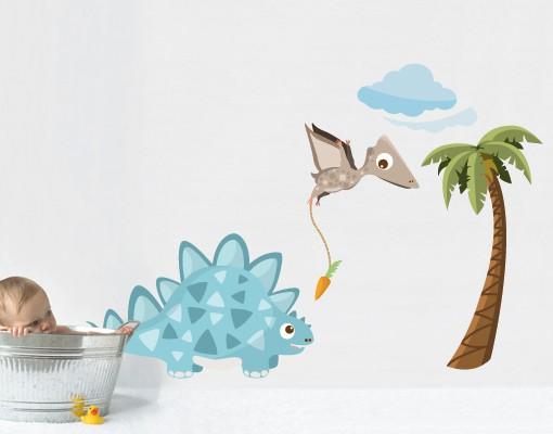 Produktfoto Wandtattoo Babyzimmer No.MW89 Dinobande Steggi und Flap