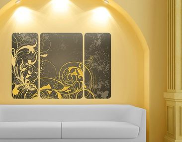 Product picture Wall Mural Curlicues In Gold Triptych II