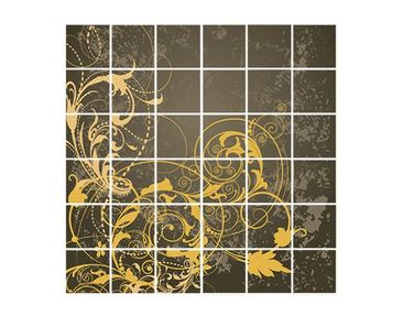 Product picture Tile Mural flourishes in Gold
