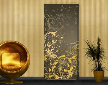 Product picture Door Photo Wall Mural Curlicues In Gold