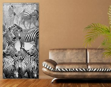 Produktfoto Door Photo Wall Mural Zebra Drove II