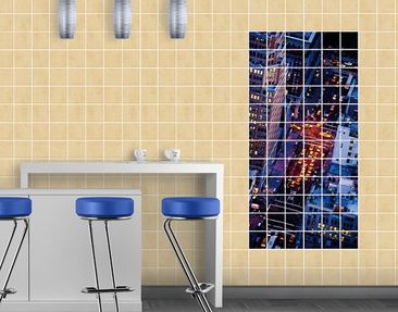 Product picture Tile Mural Manhattan Taxi Lights