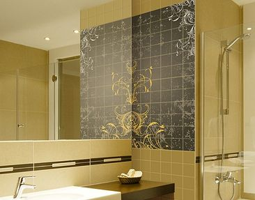 Produktfoto Tile Mural Flourishes in gold and silver