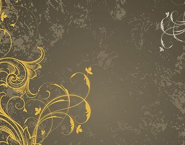 Product picture Tile Mural Flourishes in gold and silver