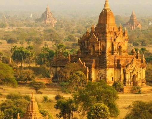 Produktfoto Selbstklebendes Wandbild Bagan in Myanmar Triptychon I