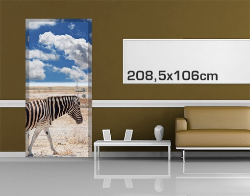 Produktfoto Türtapete Afrika selbstklebend - Zebra in der Savanne