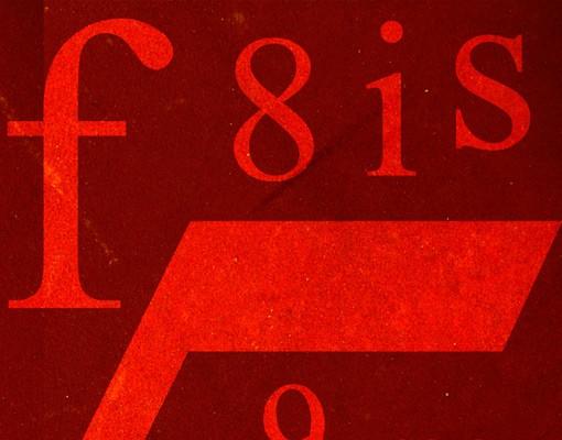 Produktfoto Fliesenbild Schriftzeichen in Rot