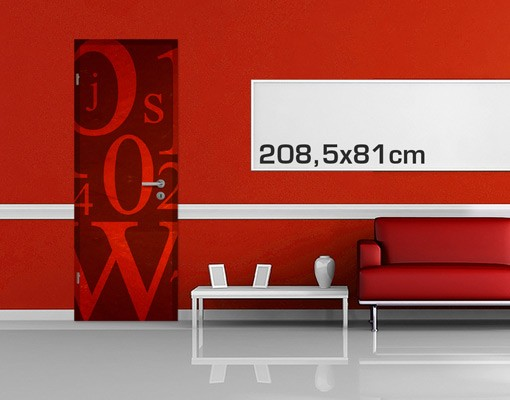 Produktfoto TürTapete Schriftzeichen in Rot