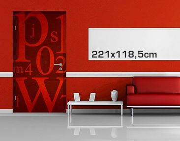 Product picture Door Photo Wall Mural Signs In Red