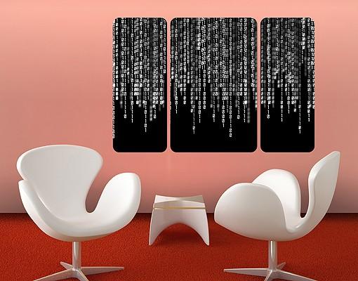 Produktfoto Selbstklebendes Wandbild Binärischer Code II Triptychon II