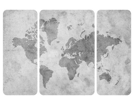 Produktfoto Selbstklebendes Wandbild Vintage Weltkarte II Triptychon II