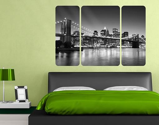 Produktfoto Selbstklebendes Wandbild Brooklyn Brücke in New York II Triptychon II