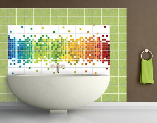 Produktfoto Fliesenbild Pixel-Regenbogen