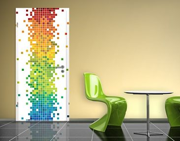Produktfoto Door Photo Wall Mural Pixel Rainbow