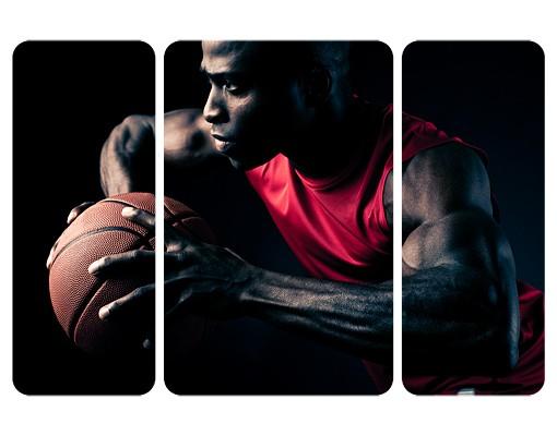 Produktfoto Selbstklebendes Wandbild Nahaufnahme eines Basketballers Triptychon II