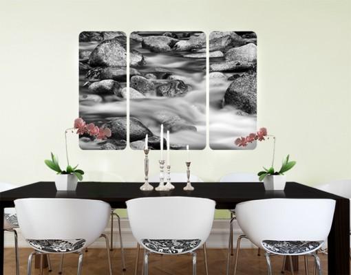Produktfoto Selbstklebendes Wandbild Fluss in Kanada II Triptychon II