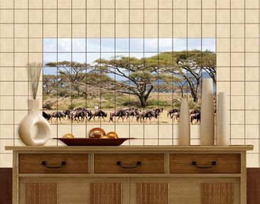 Produktfoto Tile Mural Herd of wildebeest in the...
