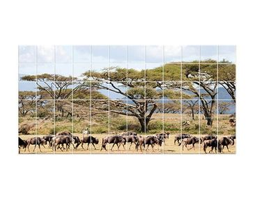 Product picture Tile Mural Herd of wildebeest in the...