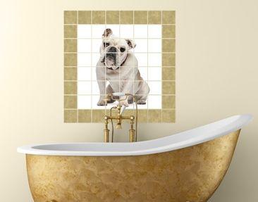 Produktfoto Tile Mural Skeptical Bulldog