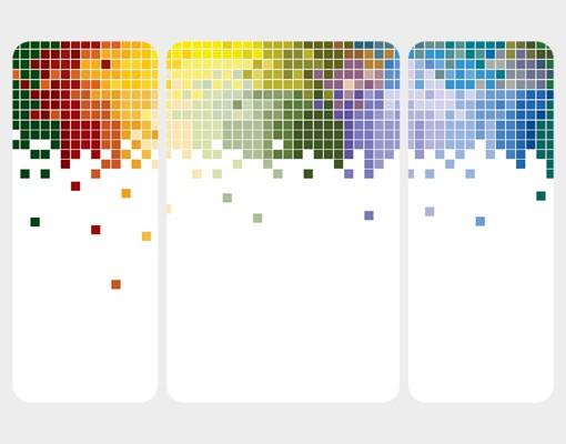 Produktfoto Selbstklebendes Wandbild Farbenfrohe Pixel Triptychon II