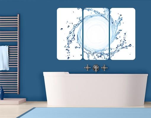 Produktfoto Selbstklebendes Wandbild Wasserstrudel Triptychon I