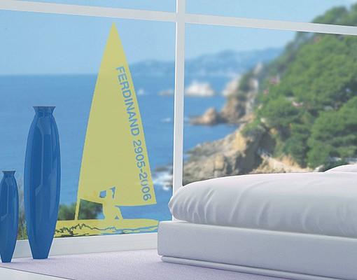 Produktfoto Fensterfolie - Fenstertattoo No.RS133 Wunschtext Segeln - Milchglasfolie