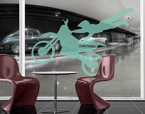 Produktfoto Fensterfolie - Fenstertattoo No.RS131 Wunschtext Motocross - Milchglasfolie