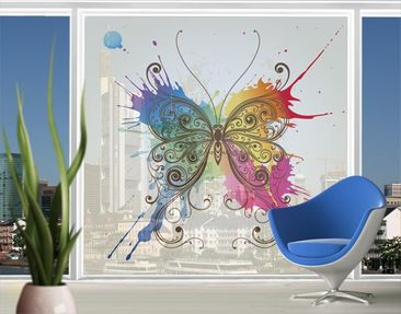 Product picture XXL Window Mural Water Colour Butterfly