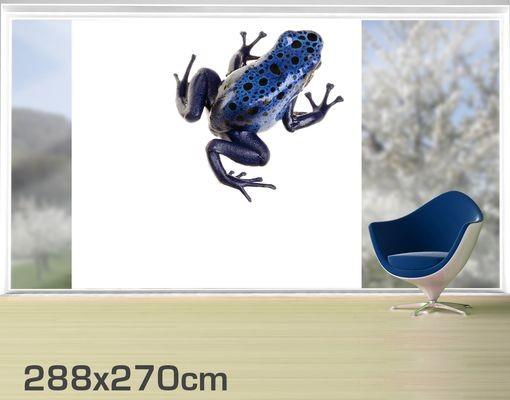 Produktfoto Fensterfolie - XXL Fensterbild Blauer Frosch - Fenster Sichtschutz
