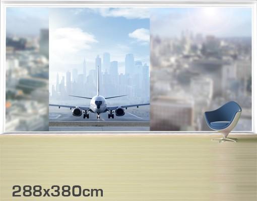 Produktfoto Fensterfolie - XXL Fensterbild Flugzeug vor dem Start - Fenster Sichtschutz