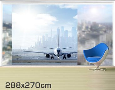 Product picture XXL Window Mural Airplane Before...