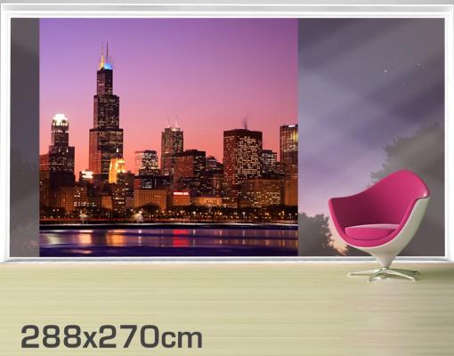 Produktfoto Fensterfolie - XXL Fensterbild Chicago Skyline - Fenster Sichtschutz