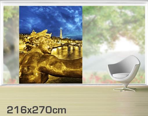 Produktfoto Fensterfolie - XXL Fensterbild Goldenes Paris - Fenster Sichtschutz